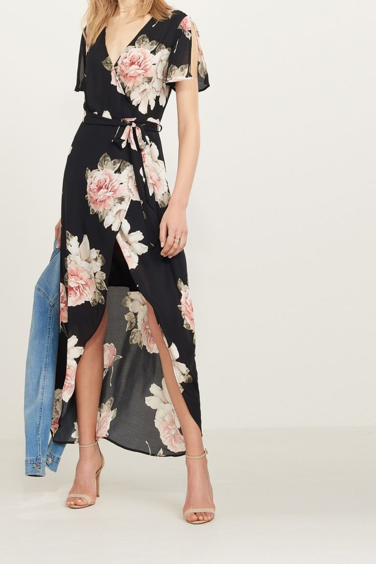 This floral print is everything!   High Low Wrap Maxi Dress