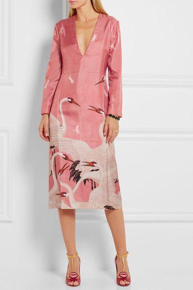 Japanese cranes. Silk dress, Gucci. https://www.net-a-porter.com/us/en/product/714588/Gucci/printed-silk-twill-dress