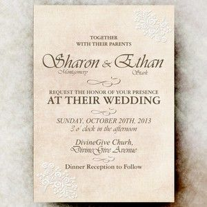 Shabby Chic Wedding Invitation - White Flower Lace Wedding Invitation