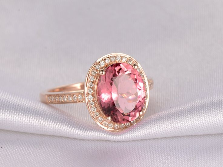 Simple  ctw Oval Pink Tourmaline and Diamond Engagement Ring K Rose Gold Halo Tourmaline Engagement