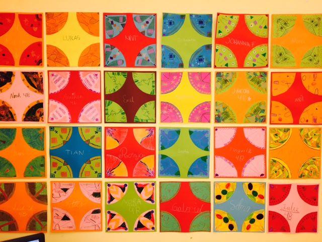 Symmetri   -4 punkts-rotasjonsmønster   Du trenger:   Fargeblyanter   Saks og lim   Farget ark     1.  Elevene valgte seg to ulike ark med...