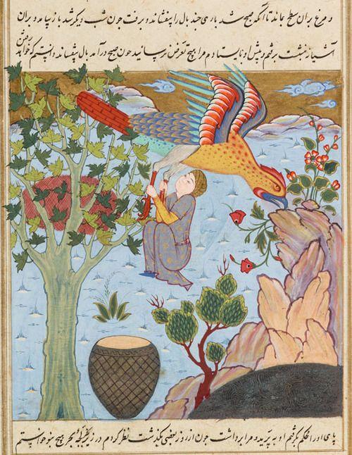Cambridge University Library, MS Nn.3.74, detail of f. 63r (bird rescuing a man). Qazwini, ʻAjā'ib al-makhlūqāt. 16th century.