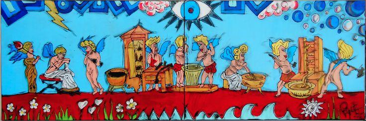 """I PROFUMIERI - 300X100 cm. Acrilic on canvas Reinterpretazione POP dell'affresco originale """"I PROFUMIERI"""" che si trova nella Casa dei Vetti a Pompei (Italy)"""