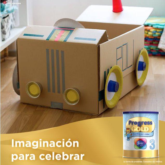 El Día del Niño sorprende a tu pequeño con este divertidísimo cochecito que puedes hacer con objetos que tienes en casa: platos y vasos de plástico, cinta de colores y una caja. ¿Qué te parece?