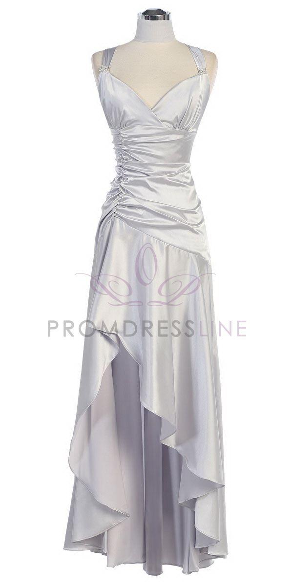 Unique Silver Shirred Satin Bodice With High Low Hem Bridesmaid Dress LTS on GirlsDressLine Anniversary Dressth Wedding