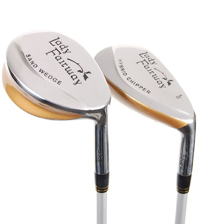Lady Fairway by Adams Golf short game pack includes a versatile chipper and an easy to hit sand wedge.  Both clubs feature a lightweight ladies flex graphite shaft.
