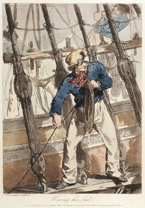 Heaving a lead by John Augustus Atkinson, 1 January 1807. Repro ID: PU7765 ©National Maritime Museum, Greenwich, London