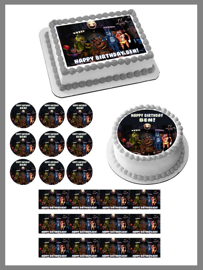 Five Nights at Freddy's 7 Edible Birthday Cake Topper OR Cupcake Topper, Decor