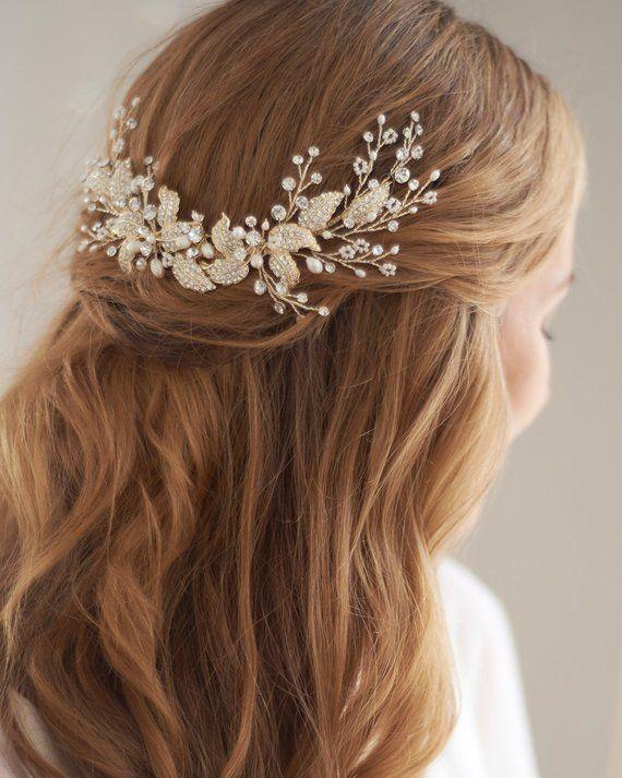 bridal head piece pearl wedding hair acessory gold bridal hair piece Pearl hair comb