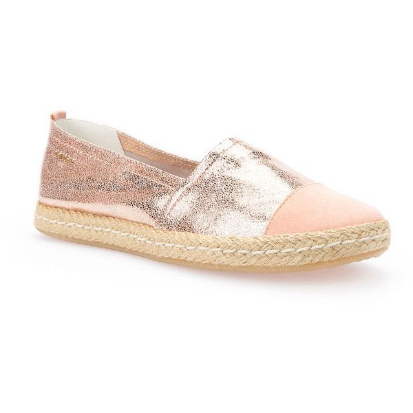 Geox Modesty (195 NZD) ❤ liked on Polyvore featuring shoes, rose gold and peach, slip on, peach shoes, geox shoes, pull on shoes, geox footwear and geox