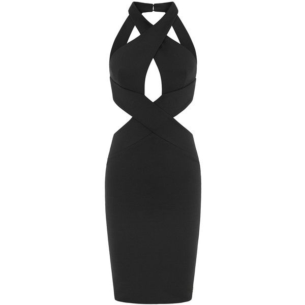 Aloura London - Duchess Dress Black (81.655 HUF) ❤ liked on Polyvore featuring dresses, surplice dress, going out dresses, night out dresses, strappy open back dress and sexy party dresses