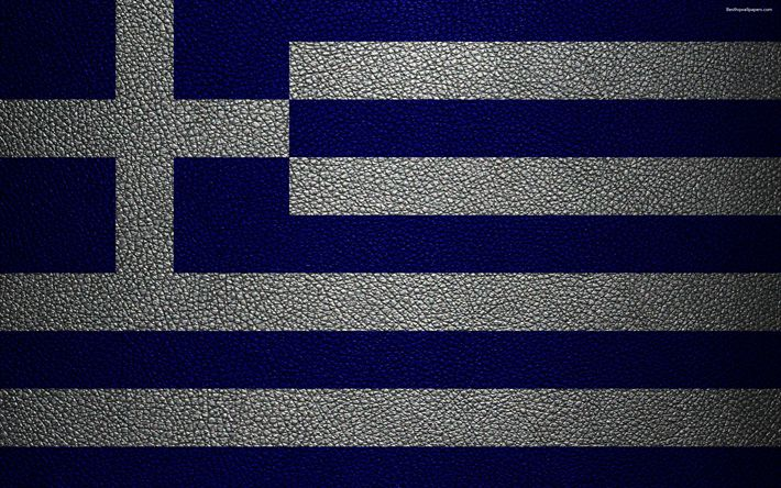 Download wallpapers Flag of Greece, 4k, leather texture, Greek flag, Europe, flags of Europe, Greece