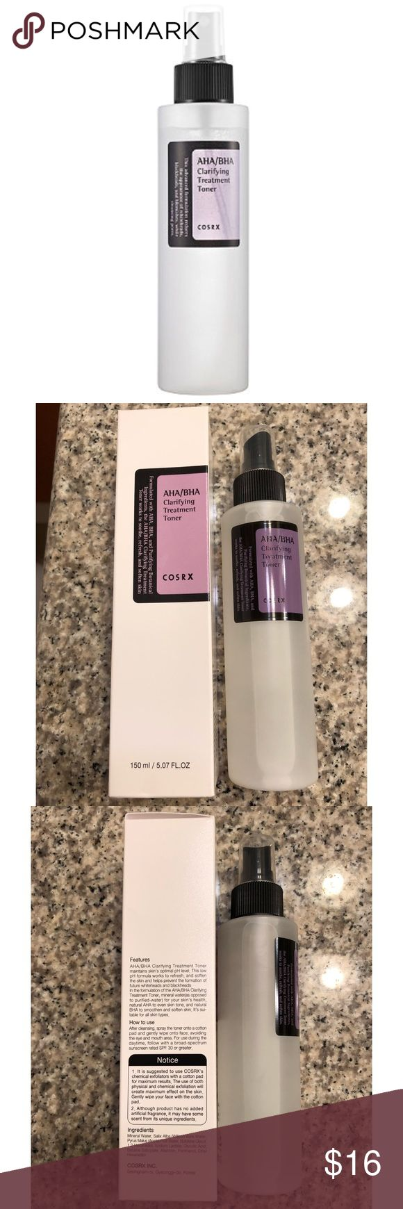 🆕 NIB COSRX AHA/BHA Clarifying Treatment Toner NEW, never used COSRX AHA/BHA Clarifying Treatment Toner. Purchased from Ulta and never used!  • Exfoliating fluid that effectively eliminates flakes and dull skin cells while preventing blackheads and whiteheads from forming • Infused with natural acne-fighting acids, controls excess oil and sebum while nourishing and hydrating depleted skin with essential vitamins  🚫NO trades 💋Free sample with purchase! COSRX Makeup