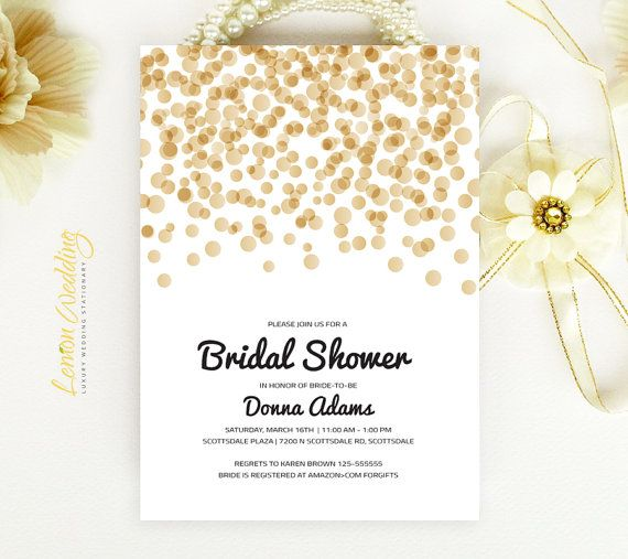 Bridal Shower Invitation - Gold and black confetti wedding shower invitation Printed on luxury white or cream pearlescent paper