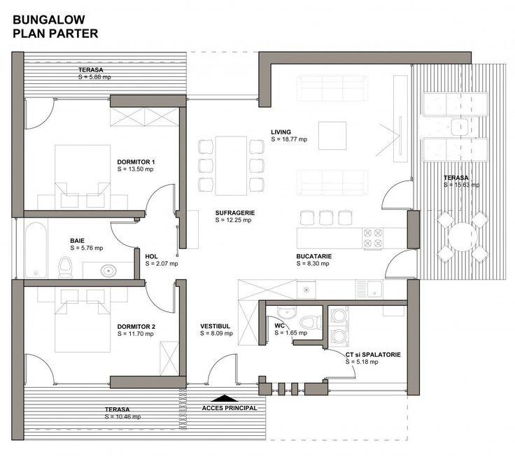 Planuri de casa cu 2 dormitoare pe acelasi nivel for Arhitectura case cu mansarda