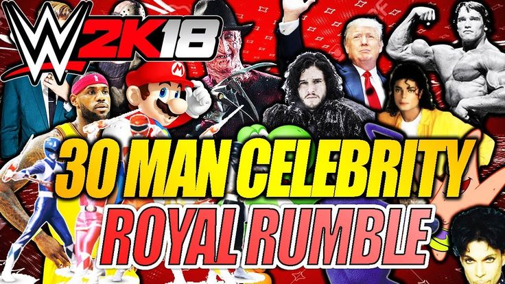 Insane 30 Man Celebrity WWE 2K18 Royal Rumble - Donald Trump Jason Voorhees and ...