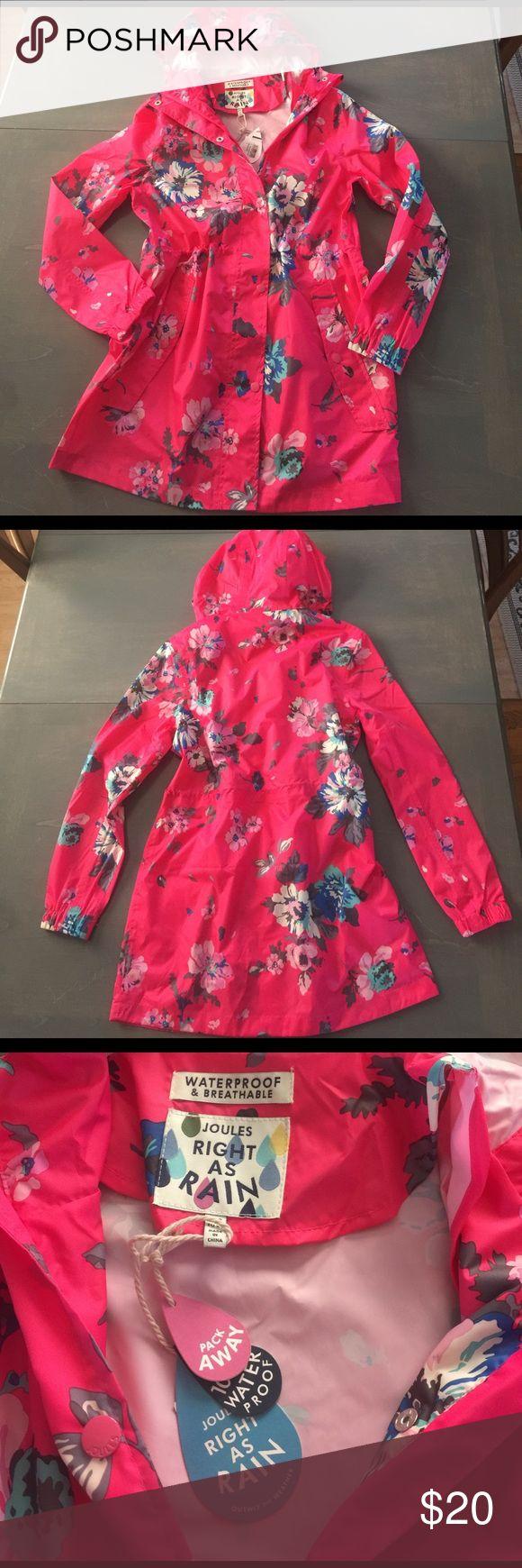 "Joules - Right as Rain - SZ 4 Rain Coat ☂️ BNWT - Joules ""Right as Rain"" ☔️ Raincoat in a darling pink floral pattern, size 4. Joules Jackets & Coats"