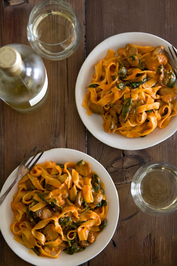 Red Pepper Pasta with Mushrooms and Spinach from