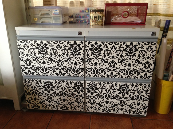 how to cover a filing cabinet with fabric 2