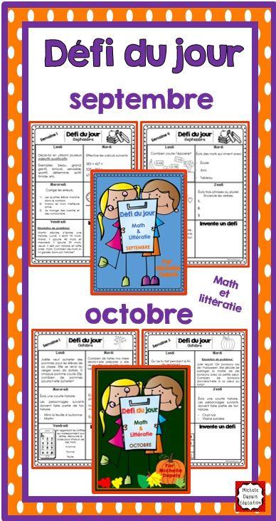 Le défi du jour présente une tâche quotidienne aux élèves. Il y a des défis mathématiques et des concepts de littératie. Voici les ensembles pour les mois de septembre et octobre.