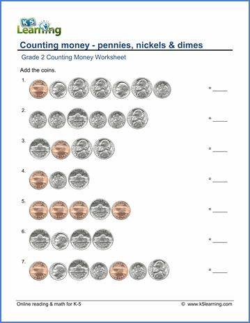 grade 2 counting money worksheet on counting pennies nickels and dimes math basic skills. Black Bedroom Furniture Sets. Home Design Ideas