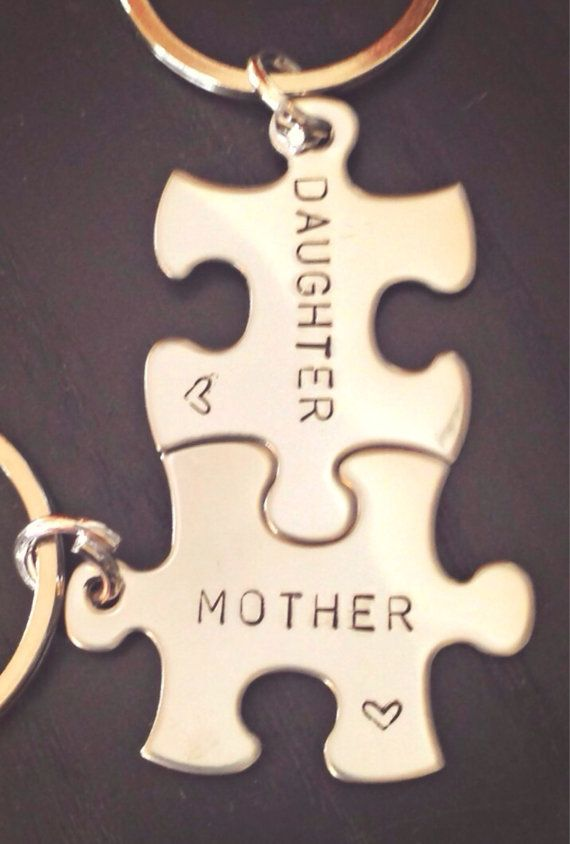 Personalized Puzzle Keychain Mother Daughter by natashaaloha