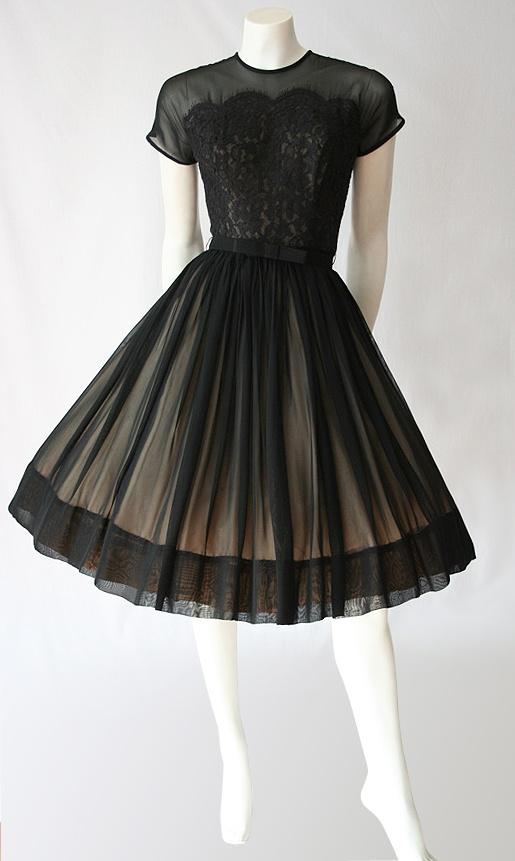 Black chiffon and lace 50s dress.