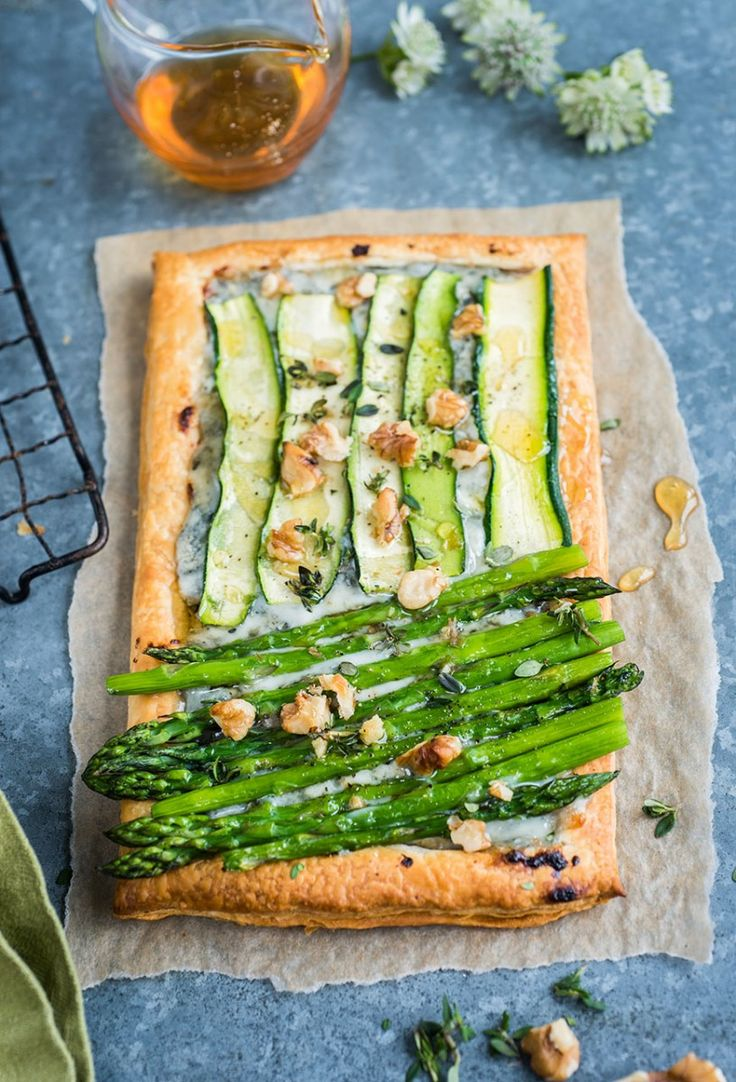 Courgette, asparagus and blue cheese tarts - quick, easy and absolutely irresistible!