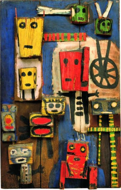 Karel Appel (1949): Vragende kinderen. Deze assemblage bevat zoveel kleur…