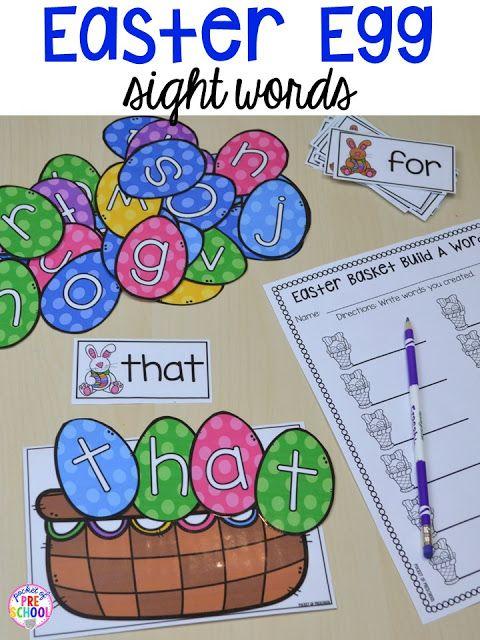 Easter egg build a sight word activity. Plus peeps 5 senses and taste test FREEBIE. For preschool, pre-k, and kindergarten.