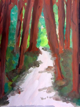 Forests using one point perspective - Cedar Creek Elementary