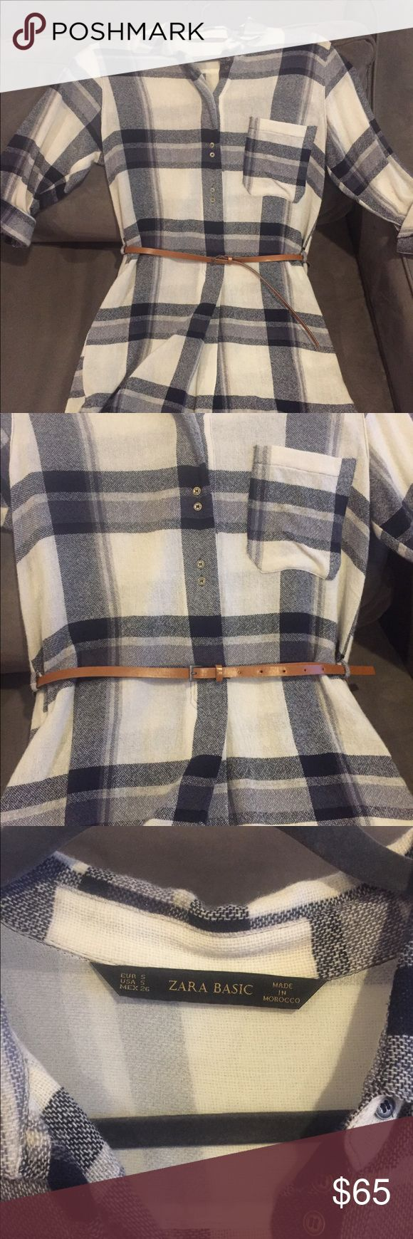 Zara Plaid Flannel Shirt Dress Sz Small Zara Plaid Flannel Shirt Dress Blue/ Cream color. Size Small, Belt loops and Brown Belt included. Excellent condition, worn 2x. Can be worn with belt on without for looser fit. Zara Dresses Long Sleeve