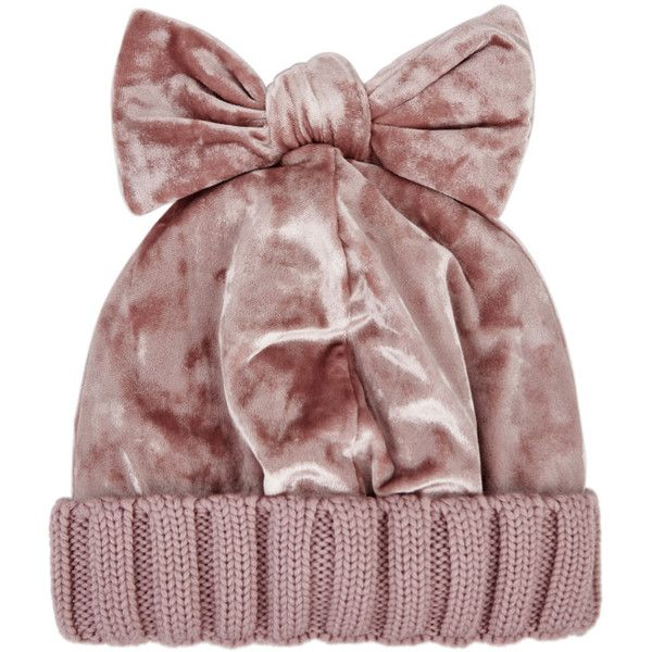 Federica Moretti Pink Wool And Velvet Beanie ($160) ❤ liked on Polyvore featuring accessories, hats, pink hats, velvet hat, beanie hat, pink beanie and ribbed hat