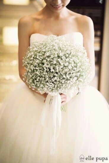 A BEAUTIFUL & ROMANTIC Bridal Bouquet Of Gypsophila (Baby's Breath) Hand Tied With White Ribbon