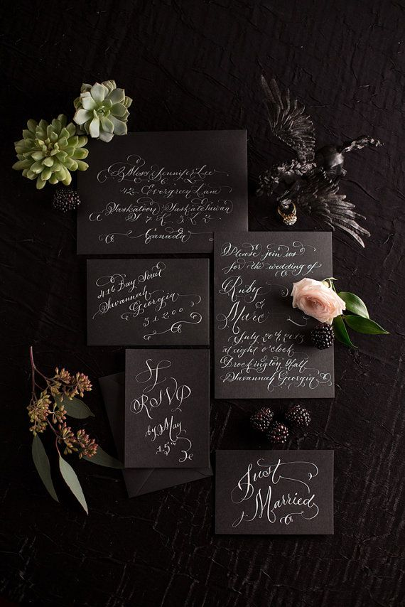 Hand Lettered Invitation Suite White Calligraphy on