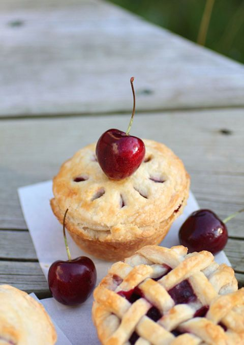 Bake mini fruit pies in a muffin pan for the perfect party-size petite fours. Get the recipe at Adventuress.