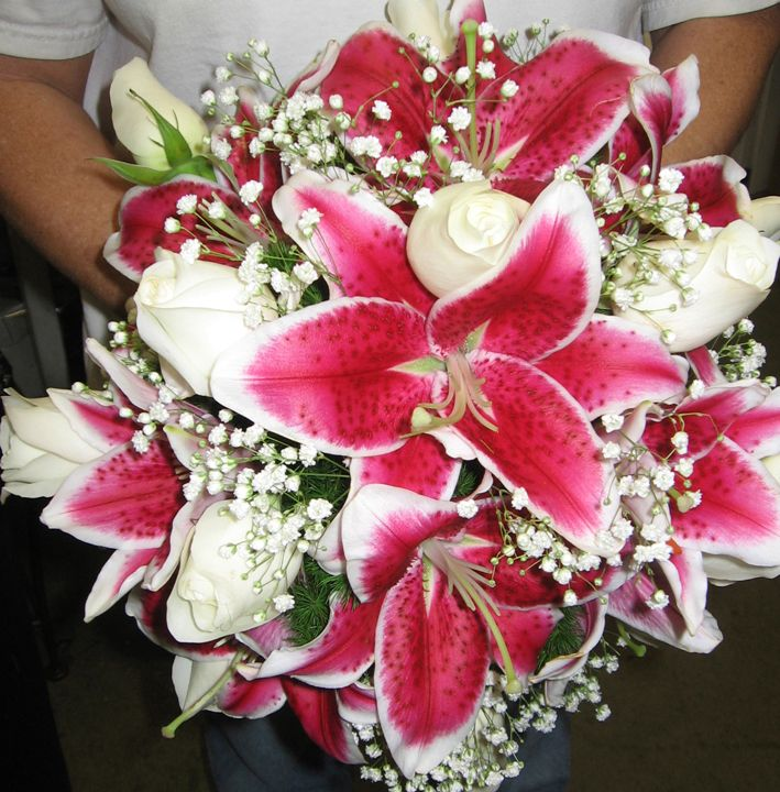 my bouquet  white roses and pink lilies