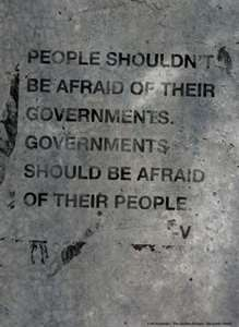 V for Vendetta quote. We the people (everywhere) need to form a more perfect union. Together we stand, divided we fall.