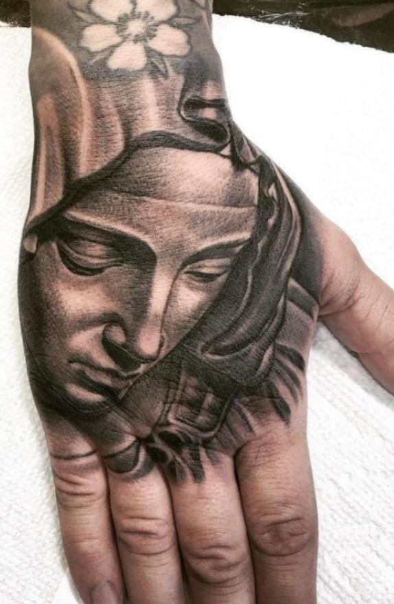 Virgin Mary Tattoo In 2020 Virgin Mary Tattoo Hand Tattoos For Guys Mary Tattoo