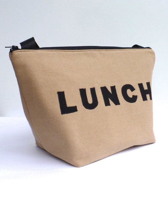 Insulated Lunch Bag Tote  Eco Friendly Zip Brown Lunch Bag Man Lunch Bag by BonTons on Etsy, $40.00