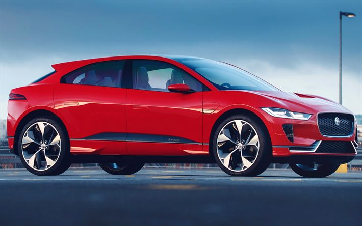 Download wallpapers Jaguar I-PACE, 4k, 2018 cars, crossovers, red I-PACE, Jaguar