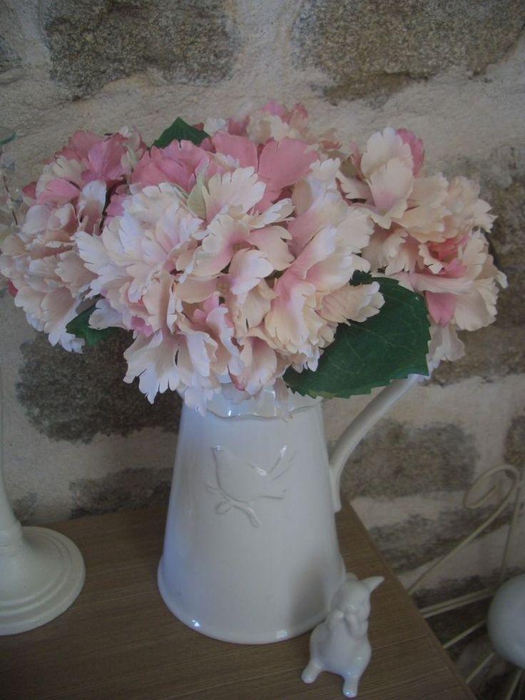 1 tige fleur artificielle tissu hortensia / hydrangea rose déco shabby 30cm NEUF