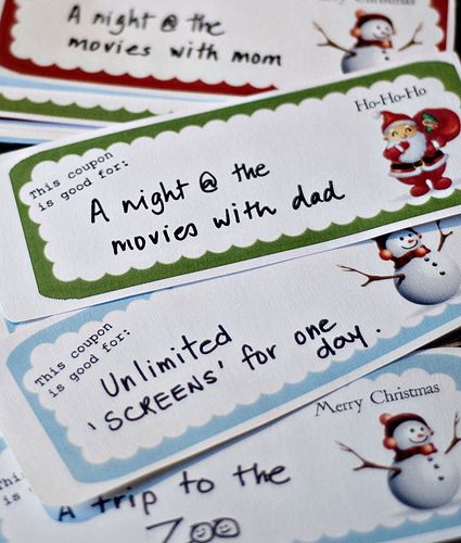 "Christmas coupons for stockings: I think I will do ""Santa Says"" coupons for things like  staying up extra 20 min, skipping chores that day, etc,"