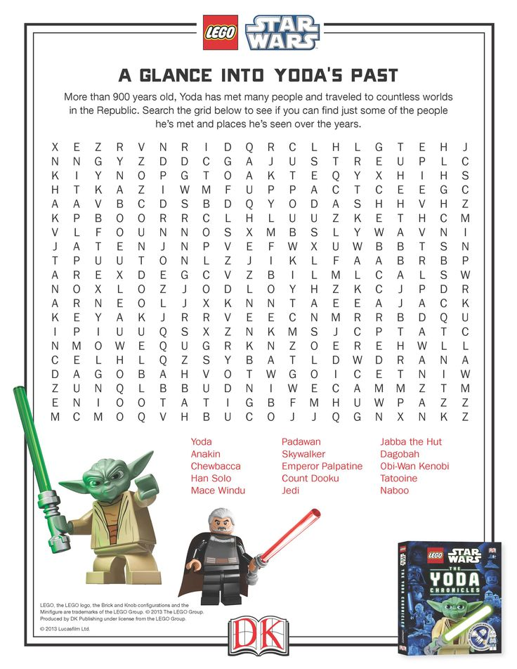 A Glance into Yoda's Past Word Search