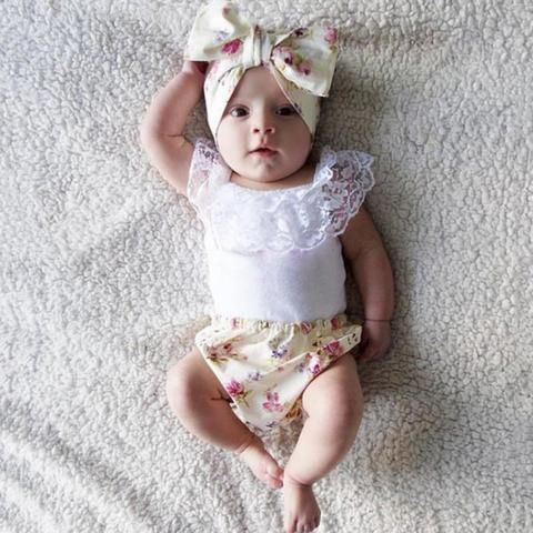 Three Piece Infant Baby Girl Ruffle Lace Floral Outfit Set with Headband