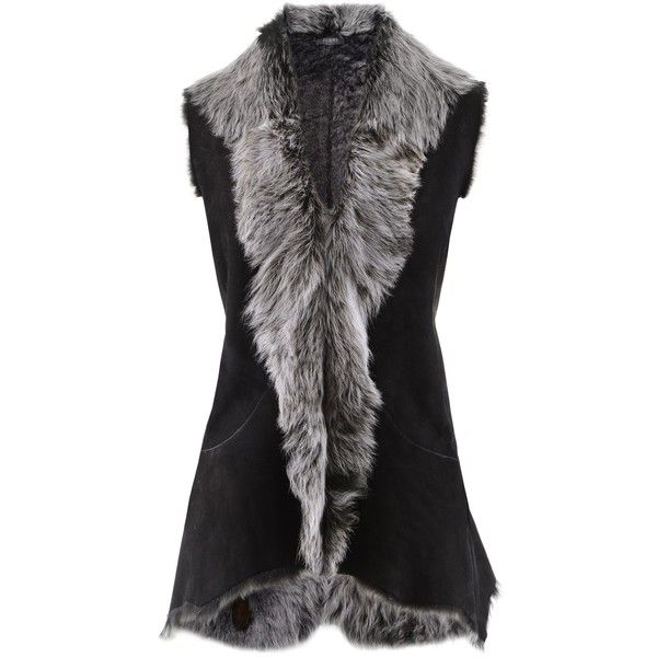Furry Black Toscana Lamb Vest (£625) ❤ liked on Polyvore featuring outerwear, vests, jackets, fur, fur waistcoat, vest waistcoat and fur vest