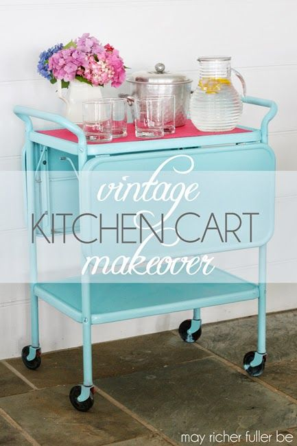 Transform a kitchen cart to an #upcycle bar cart via @Chaney {May Richer Fuller Be}