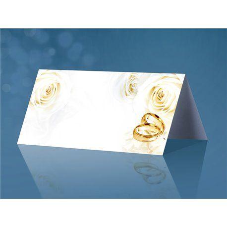 Dobbelt bordkort med ringer og blomster - 25 stk