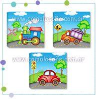 MODELO TRANSPORTES Impresos en tela vinilica y montados en bastidor de madera COMO LO SONÉ... www.comolosoñe.com.ar