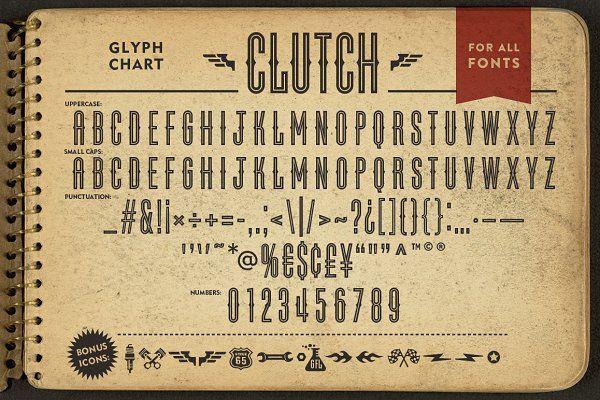 Clutch Font Family + BONUS Icons - Sans Serif